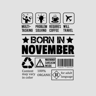 born in november t-shirts