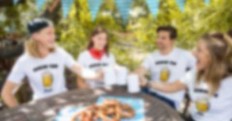 Friends celebrate the Oktoberfest in customized T-shirts