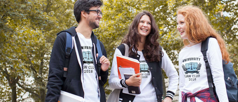 Students leaving school in customizable t-shirts