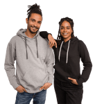 Man and woman in customizable hoodies