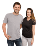 Man and woman in customizable t-shirts