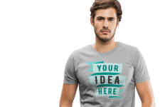 Man with customized T-shirt