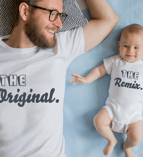 Father and baby lying down in customizable clothing