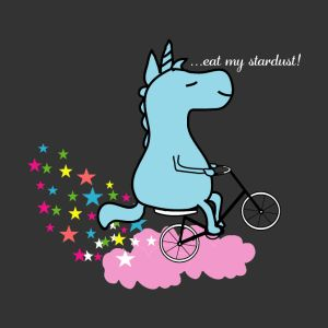 eat my stardust unicorn on bicycle clouds stars mugs drinkware
