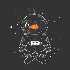 astronaut with goldfish bags backpacks