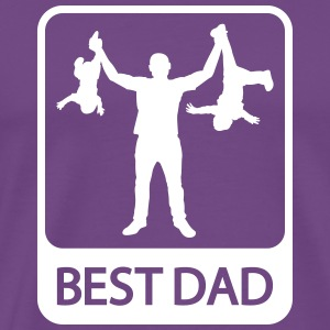 Best Dad - Funny Silhouette of Father and Children - Men's Premium T-Shirt