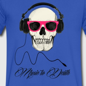 DJ SKULL Music to Death T-Shirts - Men's V-Neck T-Shirt by Canvas