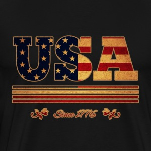 vintage colorized flag USA since 1776 - Men's Premium T-Shirt