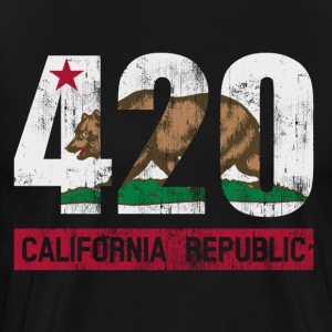 420 California Republic Flag T-Shirts - Men's Premium T-Shirt