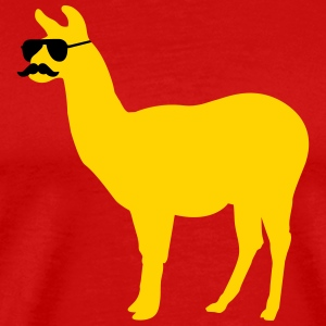 Funny llama with sunglasses and mustache T-Shirts - Men's Premium T-Shirt