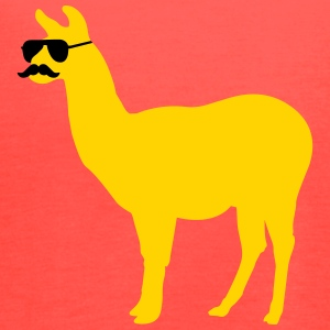 Funny llama with sunglasses and mustache Tanks - Women's Flowy Tank Top by Bella