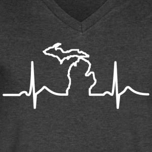 Michigan Heart Beat Clothing Apparel Shirts T-Shirts - Men's V-Neck T-Shirt by Canvas