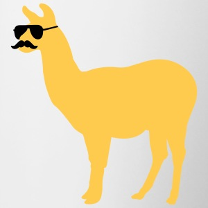 Funny llama with sunglasses and mustache Bottles & Mugs - Contrast Coffee Mug