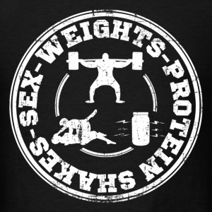 sex_weights_protein_shakes T-Shirts - Men's T-Shirt