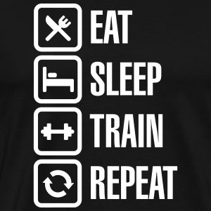 Eat sleep train repeat - bodybuilding T-Shirts - Men's Premium T-Shirt