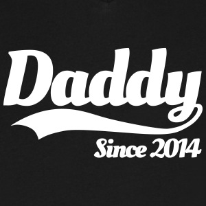 Daddy Since 2014 T-Shirts - Men's V-Neck T-Shirt by Canvas