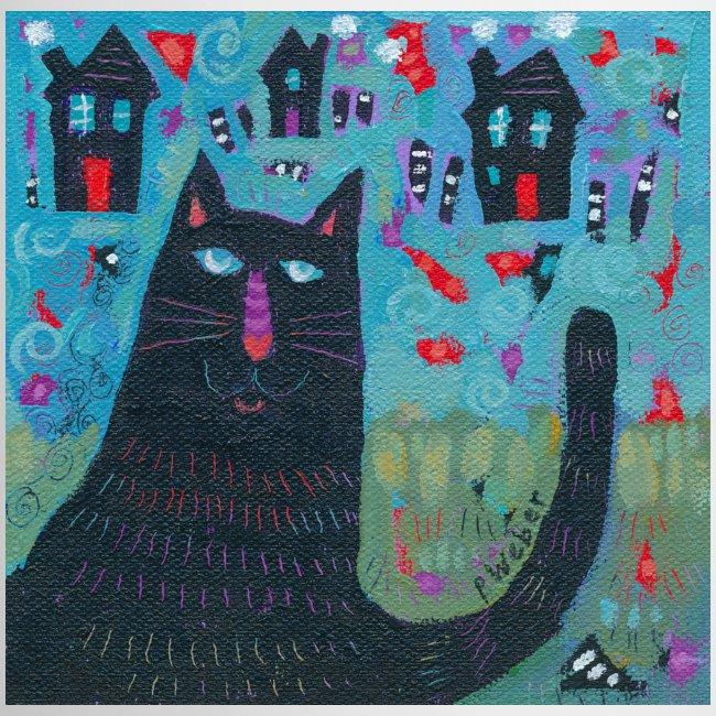 Where Do You Live Little Black Cat Mug