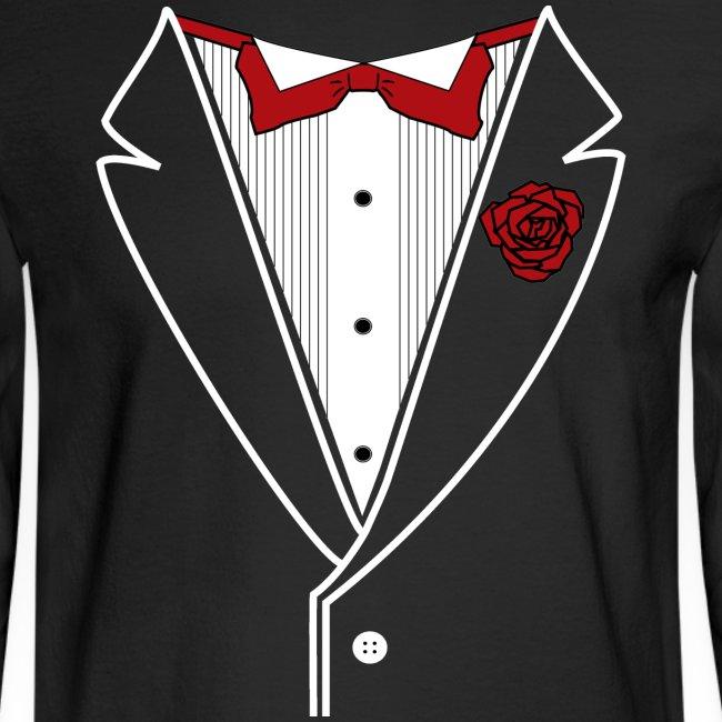 Classy Fella Long Sleeve w/ White Lines & Red Bowtie