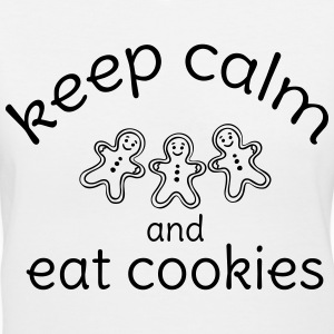 KEEP CALM AND EAT COOKIES Women's T-Shirts - Women's V-Neck T-Shirt