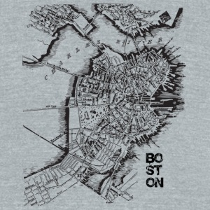Boston Old Map Apparel T-shirts T-Shirts - Unisex Tri-Blend T-Shirt by American Apparel