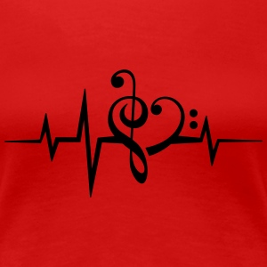 Frequency music notes clef heart pulse bass beat Women's T-Shirts - Women's Premium T-Shirt