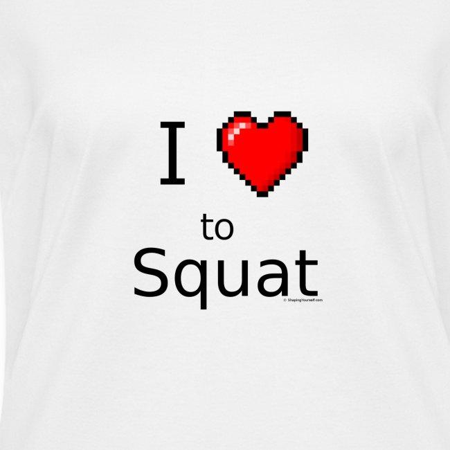 """""""I Love to Squat"""" 8 bit retro heart"""