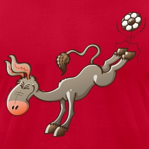 Donkey Shooting a Soccer Ball T-Shirts - Men's T-Shirt by American Apparel