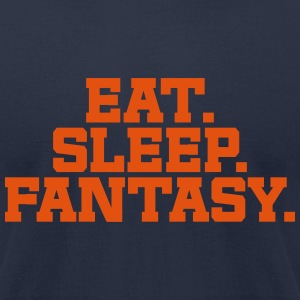 Eat. Sleep. Fantasy. (Navy & Orange) - Men's T-Shirt by American Apparel