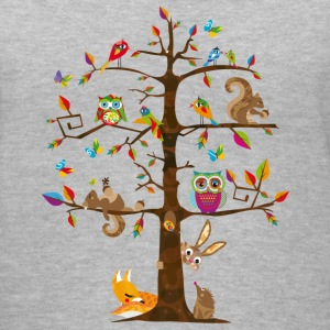 colorful animals on a tree  Women's T-Shirts - Women's V-Neck T-Shirt