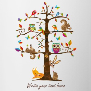 colorful animals on a tree  Bottles & Mugs - Contrast Coffee Mug