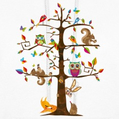 colorful animals on a tree  Hoodies