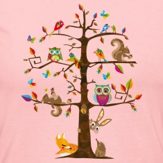 colorful animals on a tree  Long Sleeve Shirts