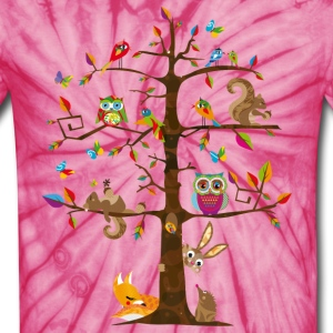 colorful animals on a tree  T-Shirts - Unisex Tie Dye T-Shirt