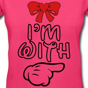 i_m_with_her22 Women's T-Shirts - Women's V-Neck T-Shirt