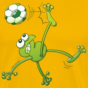 Frog Executing a Bycicle Kick with a Soccer Ball T-Shirts - Men's Premium T-Shirt