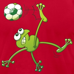 Frog Executing a Bycicle Kick with a Soccer Ball T-Shirts - Men's T-Shirt by American Apparel