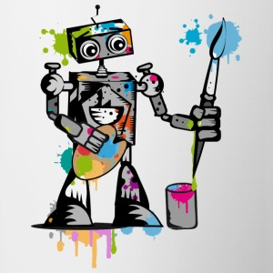 A robot with a paintbrush Bottles & Mugs - Contrast Coffee Mug