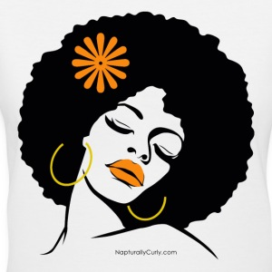 Afro Diva Orange Flower Women's T-Shirts - Women's V-Neck T-Shirt