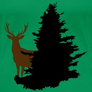 Deer + Tree, Forest, Stag Women's T-Shirts - Women's Premium T-Shirt
