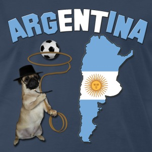 Argentina Football World Cup Pug T-Shirts - Men's Premium T-Shirt