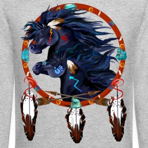 Two Black Horses Mandala - Crewneck Sweatshirt
