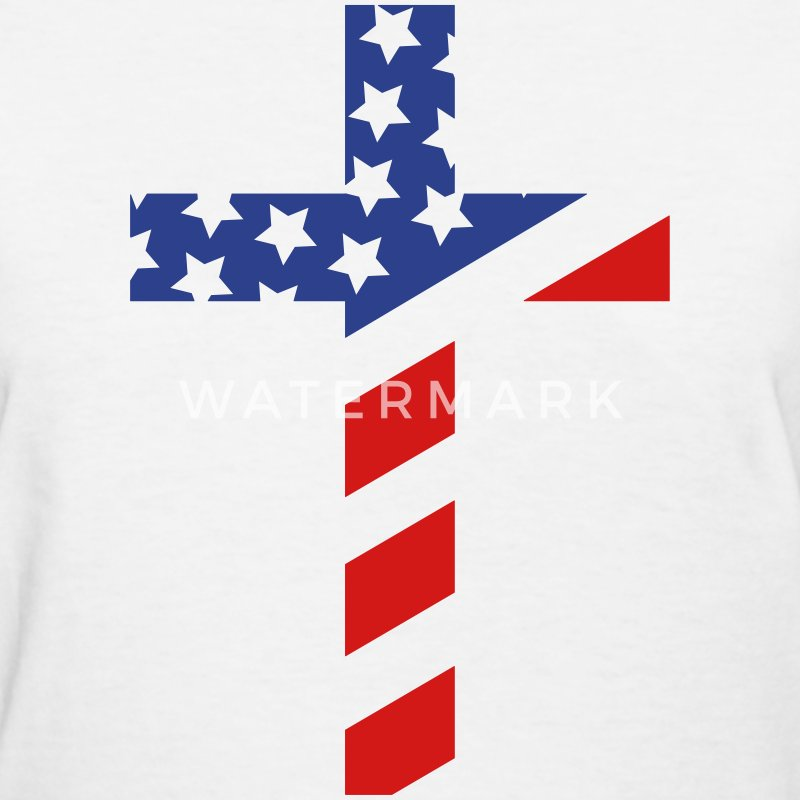Women's American Flag Cross T Shirt - Women's T-Shirt