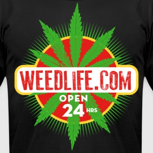 13 WeedLife Open - Green / Red T-Shirts - Men's T-Shirt by American Apparel