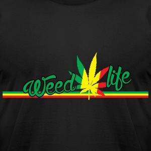 18 WeedLife Horizontal - Rasta  T-Shirts - Men's T-Shirt by American Apparel