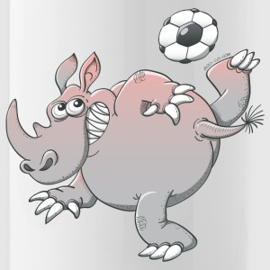 Rhinoceros Playing Soccer Bottles & Mugs - Water Bottle