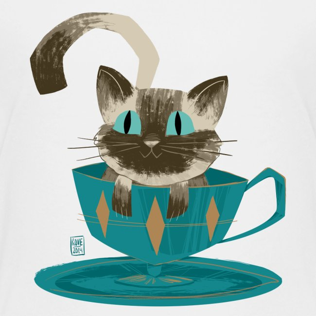 Cat in a Teacup Kids Tee