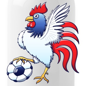 Rooster Posing and Stepping on a Soccer Ball Bottles & Mugs - Water Bottle