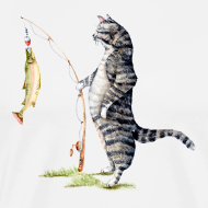Design ~ Cat with Fish Fitted Tee