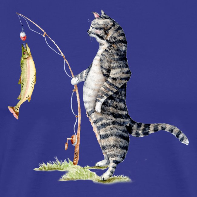 Cat with Fish Fitted Tee