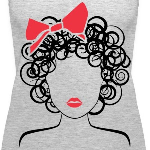 Coily Girl with Red Bow_Global Couture_logo Tanks - Women's Premium Tank Top
